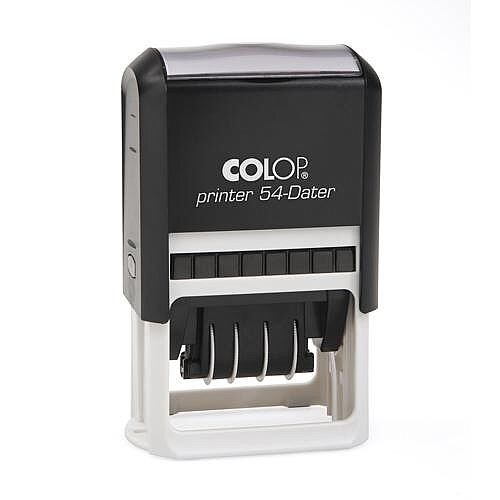 COLOP Printer 54 Rectangular Dater Pre-Inked Rubber Stamp Black Ink Black Handle
