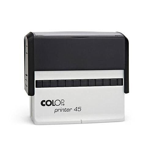 COLOP Printer 45 oblong text Pre-Inked Rubber stamp Black Ink Black Handle