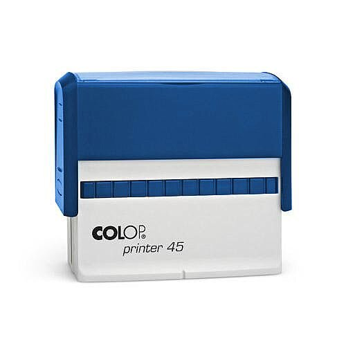 COLOP Printer 45 oblong text Pre-Inked Rubber stamp Black Ink Blue Handle