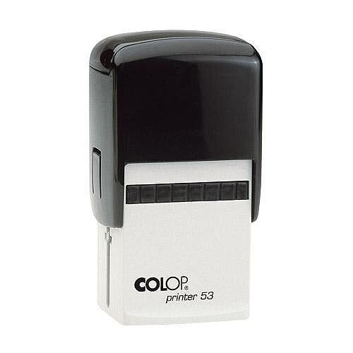 COLOP Printer 53 rectangular text Pre-Inked Rubber stamp Black ink Black Handle