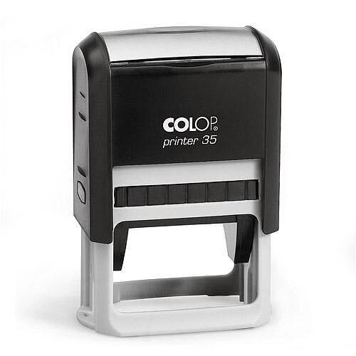 COLOP Printer 35 rectangular text Pre-Inked Rubber stamp Black ink Black Handle