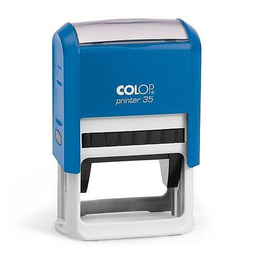 COLOP Printer 35 rectangular text Pre-Inked Rubber stamp Black ink Blue Handle