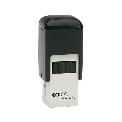 COLOP Printer Q 12 square custom text Pre-Inked Rubber Stamp Black Ink Black Handle - Made from light weight but robust plastic - For personal and business use: Home offices, shops, administration, banks, warehouses