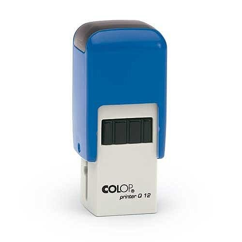 COLOP Printer Q 12 square custom text Pre-Inked Rubber Stamp Black Ink Blue Handle