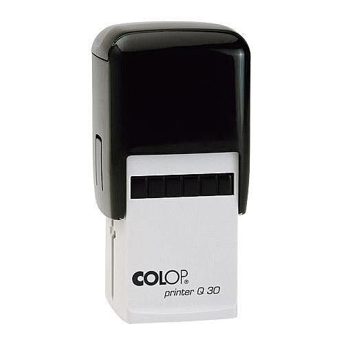 COLOP Printer Q 30 square custom text Pre-Inked Rubber Stamp Black Ink Black Handle