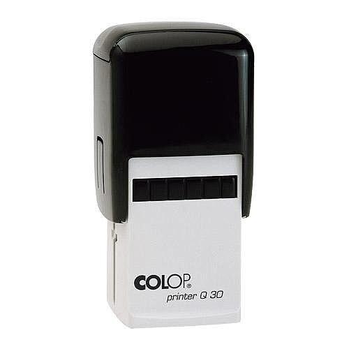 COLOP Printer Q 30 square custom text Pre-Inked Rubber Stamp Black Ink Black Handle
