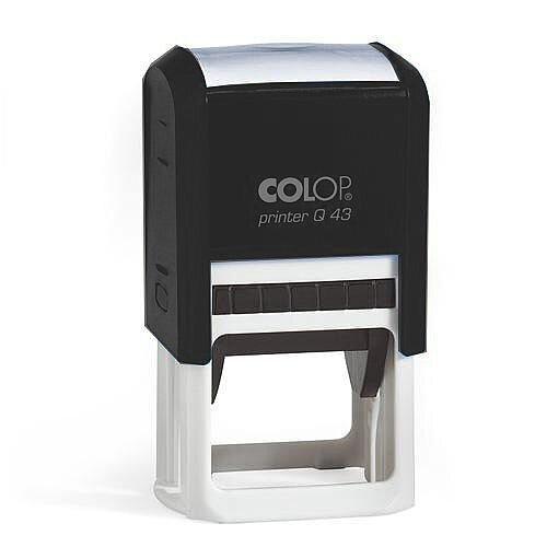 COLOP Printer Q 43 square custom text Pre-Inked Rubber Stamp Black Ink Black Handle