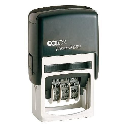 COLOP Printer S 260 Dater Pre-Inked Rubber Stamp Black Ink Black Handle