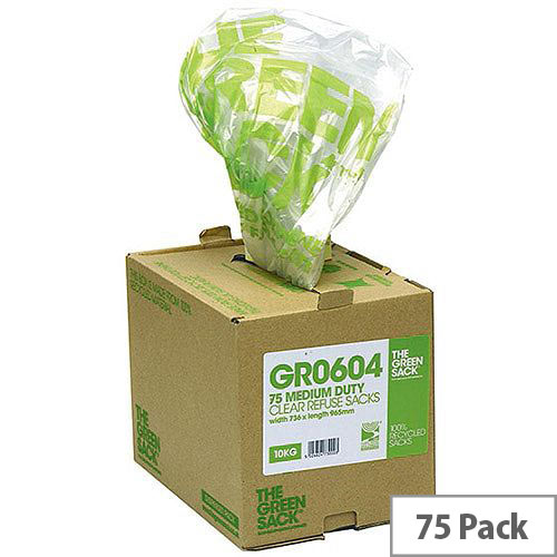 The Green Sack Medium Duty Clear Refuse Bag in Dispenser 80 Litres Pack of 75 GR0604