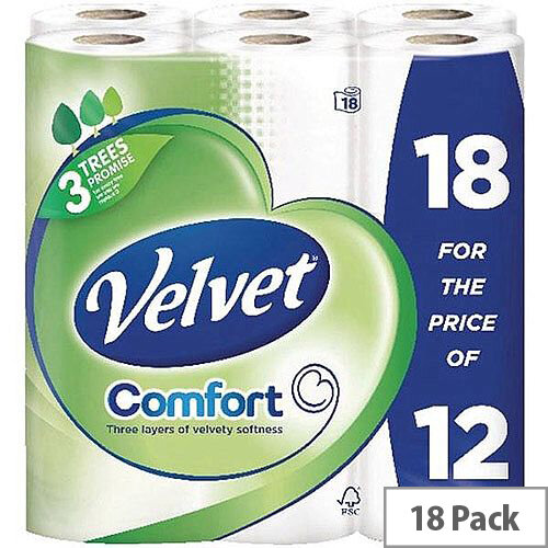 Comfort Velvet Toilet Tissue Paper Rolls White 200 Sheets per Roll Pack of 18 Toilet Paper Rolls