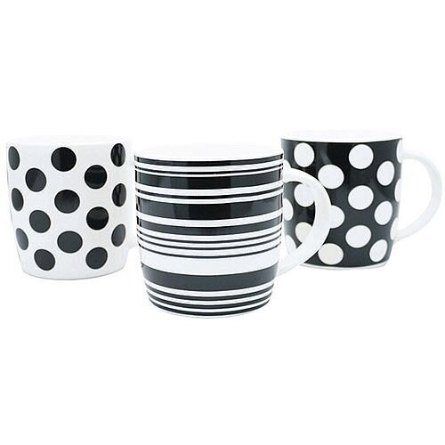 12oz Squat Mugs Dots and Stripes Black and White (Pack of 12) P1160119