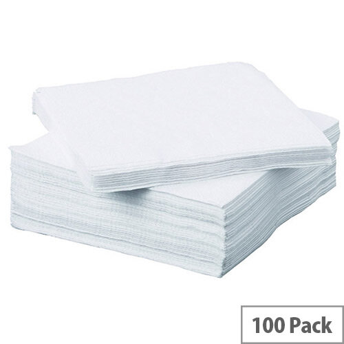 Paper Napkins 2-Ply Tissue 330x330mm White (Pack of 100) 502135