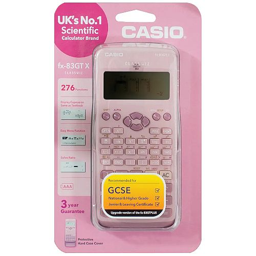 Casio FX-83GTX-DPPINK - Scientific Calculator - Schools &Exams Approved - 276 Advanced Functions, Solar and Battery Powered, Protective Slide-on, Large Textbook Display - Pink