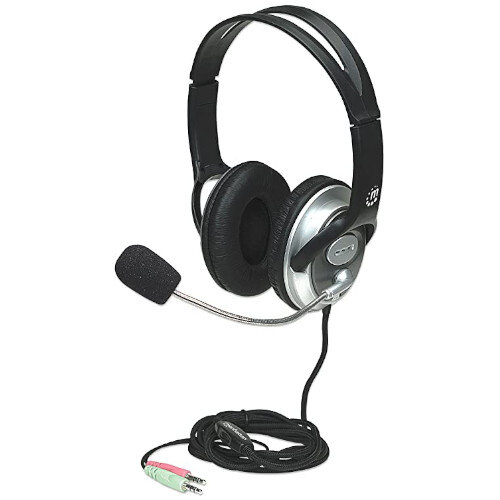 Manhattan Stereo Computer Headset for Gaming, Skype Calls, Multimedia - Flexible Microphone Boom - 2 x 3.5mm Audio Jack - 2.5m Cable - Well-Padded, Cloth-Covered Cushion - Black &Silver