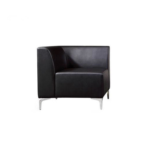 Korby Executive Modular Corner Section Sofa in Black Faux Leather