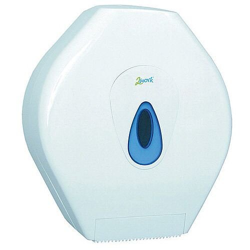 2Work Mini Jumbo Toilet Roll Plastic Dispenser White DS924E