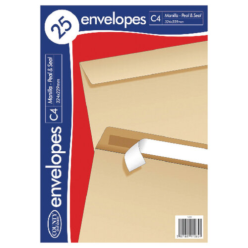 County Stationery C4 25 Manilla Peal and Seal Envelopes Pack of 20 C507
