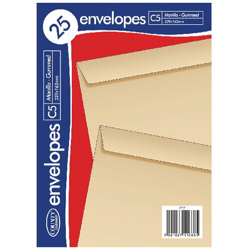 County Stationery C5 Manilla Gummed Envelopes Pack of 500 C510