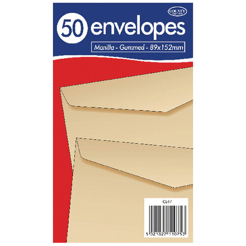 County Stationery Manilla Gummed Envelopes 89x152mm Pack of 1000 C517
