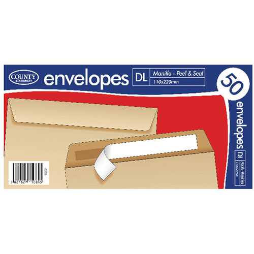 County Stationery DL Manilla Peal and Seal Envelopes Pack of 1000 C520