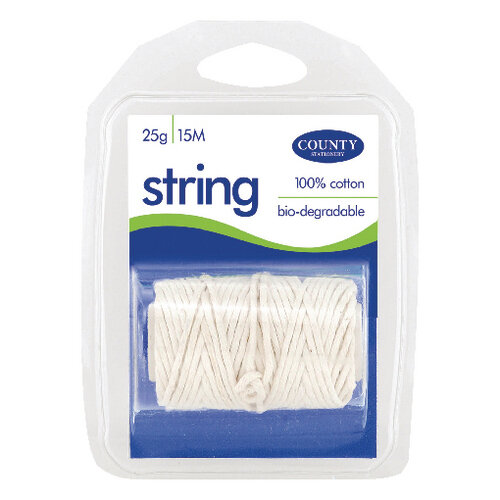 County Stationery String Spool Clamp Pack 15m Pack of 12 C173