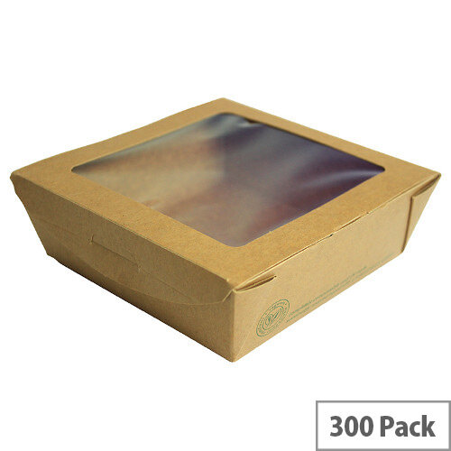 22oz Medium Disposable Cardboard Salad Boxes With Window Pack of 300