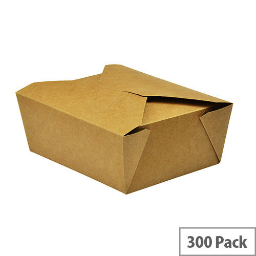 No. 8 Disposable Brown Kraft Food Cartons 1300ml 15x12x6.5cm Pack of 300