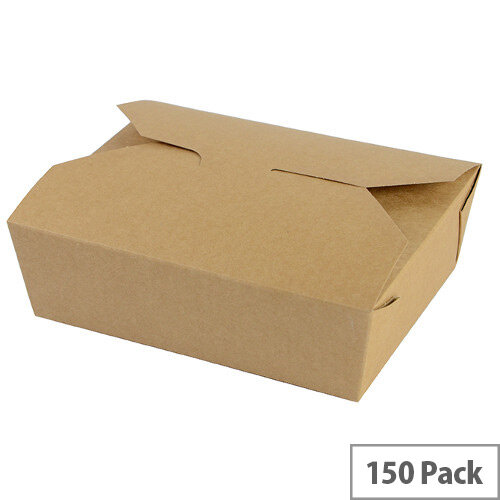 No. 5 Disposable Brown Kraft Food Cartons 1050ml 15.2x12.1x5cm Pack of 150
