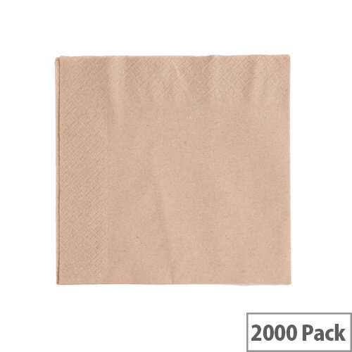 Recycled 33x33cm Unbleached 2-Ply Disposable Napkins Brown Pack of 2000