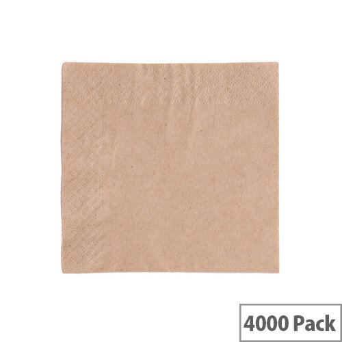 24x24cm 2-Ply Unbleached Recycled Disposable Napkins Pack of 4000