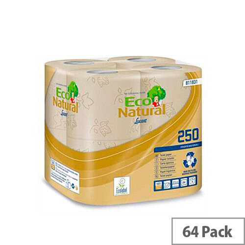 Down2 Earth EcoNatural Standard Toilet Paper Tissue Rolls 250 2-Ply Sheets per Roll 64 rolls Packed 8x8