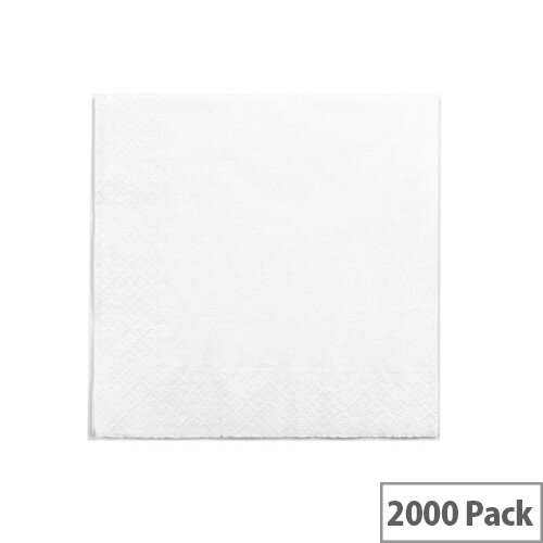 Recycled 33x33cm 2-Ply Disposable Napkins White Pack of 2000