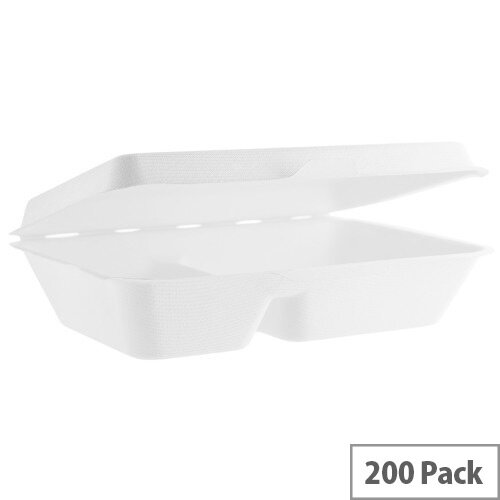 Compostable 9x6inch (36oz/1L) Two Compartment Bagasse Clamshell Disposable Take Away Boxes Pack of 200