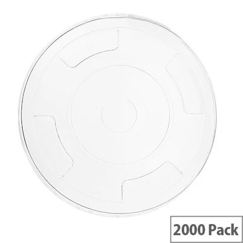 Compostable PLA 96mm Flat Lids With Straw-Slot For 96mm Cups Pack of 1000