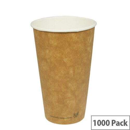 Compostable 16oz/450ml Brown Kraft Compostable Coffee Cups Disposable Hot Drink Cups Pack of 1000