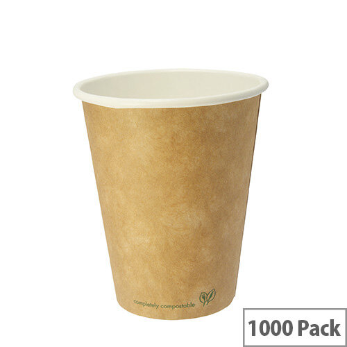 Compostable 8oz/250ml Brown Kraft Compostable Coffee Cups Disposable Hot Drink Cups Pack of 1000