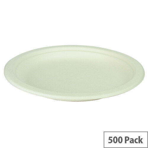 Compostable 7inch Disposable Bagasse Plates Pack of 500