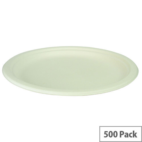 Compostable 9inch Disposable Bagasse Plates Pack of 500