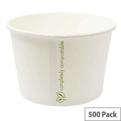 Compostable 16oz/450ml Disposable Containers Hot or Cold Treats Ice Creams Soups Pack of 500