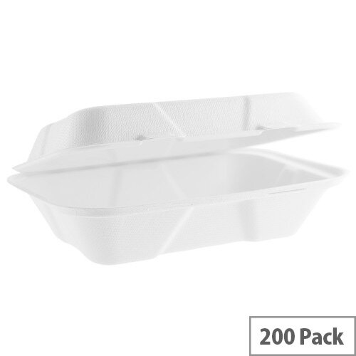 Compostable 9x6inch (32oz/900ml) Large Bagasse Clamshell Disposable Take Away Boxes Pack of 200