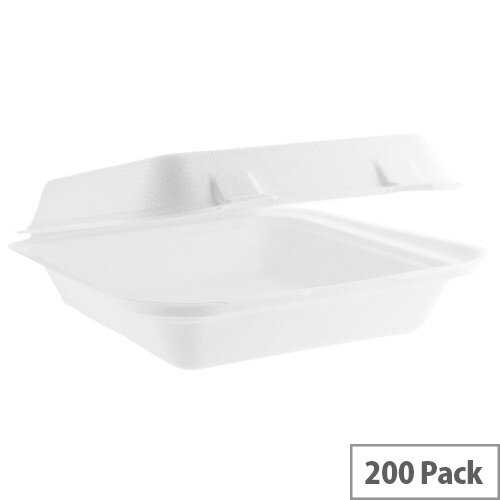 Compostable 8inch Square Bagasse Disposable Lunch Boxes Pack of 200