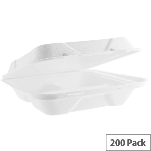 Compostable 9in Square Bagasse Disposable 3 Compartment Lunch Boxes Pack of 200