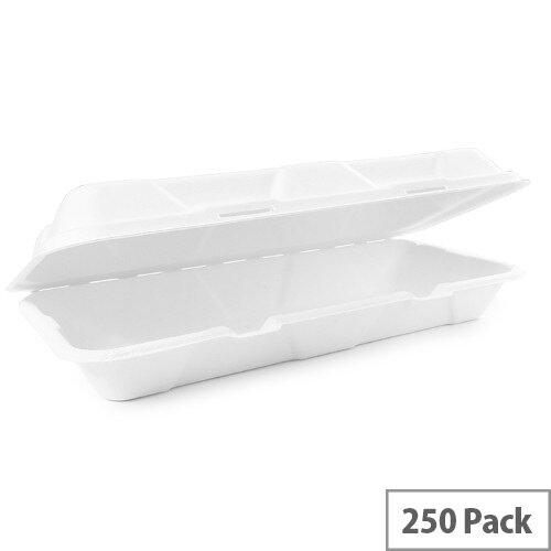 Compostable 12x6inch Bagasse Clamshell Disposable Take Away Boxes Pack of 250
