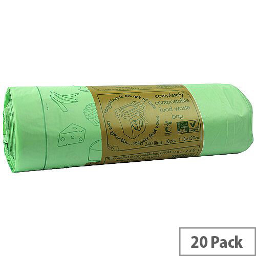 240L Completely Compostable Bin Bags Roll of 10 x 14