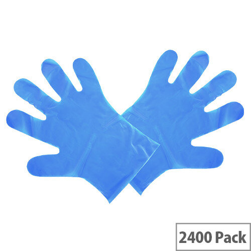 Compostable Disposable Food Preparation Gloves Blue Medium Pack of 24x 100