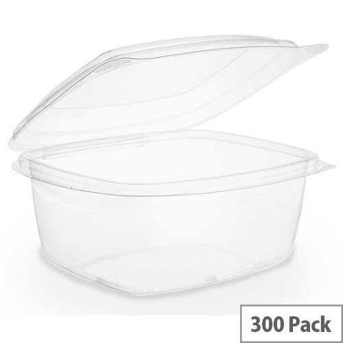 Compostable PLA 16oz Disposable Hinged Lid Deli Container Clear Pack of 300
