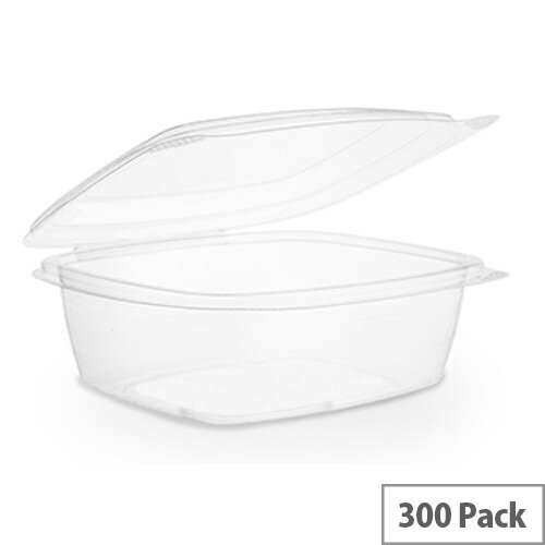 Compostable PLA 24oz Disposable Hinged Lid Deli Container Clear Pack of 200