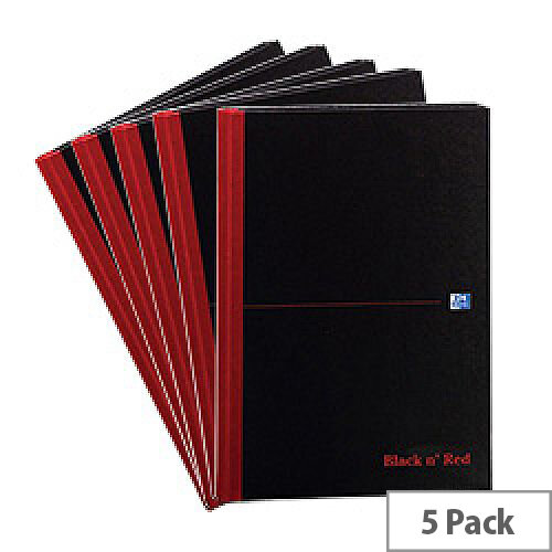 Black n Red A4 Book D66174 Casebound Ruled 192 Pages Pack 5