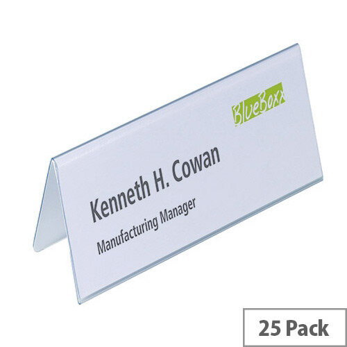 Durable Table Name Holder 25 Pack – Interchangeable, Space For Blank Insert Cards, Read From Both Sides, PVC, Fingerprint Proof, Stackable, 61 x 210mm &Transparent (8052/19)