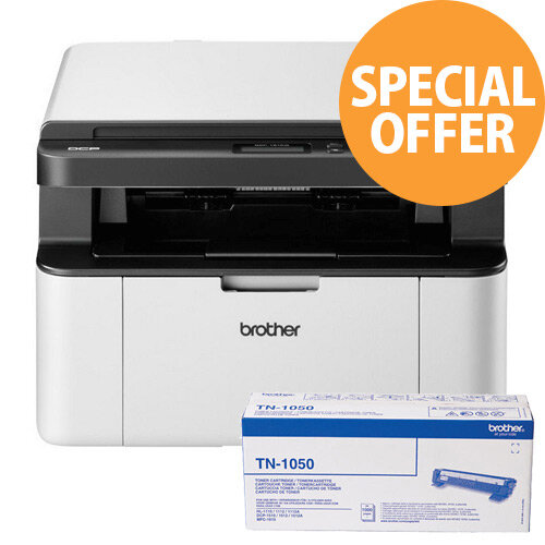 Brother DCP-1610W All-in-One Mono Laser Printer Bundle 5 Toners 3 Year Warranty